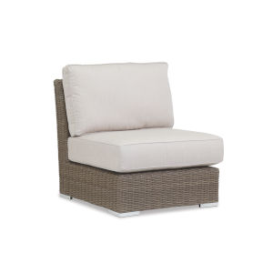 Coronado Driftwood Wicker Armless Club Chair wuth Cushion in Canvas Flax with Self Welt