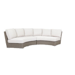 Coronado Driftwood Wicker Curved Loveseat with Cushion in Canvas Flax with Self Welt
