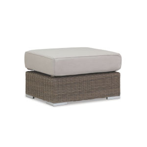 Coronado Driftwood Wicker Ottoman with Cushion in Canvas Flax with Self Welt