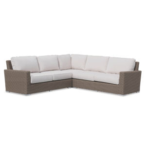 Coronado Driftwood Wicker Sectional Sofa with Cushion in Canvas Flax with Self Welt