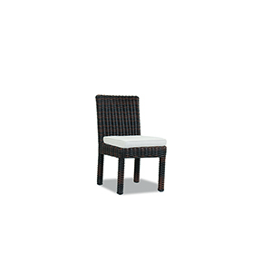 Montecito Cognac Armless Dining Chair with Canvas Flax Cushion