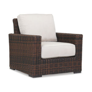 Montecito Cognac Wicker Club Chair with Cushion in Canvas Flax with Self Welt