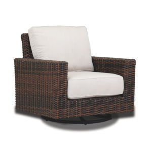 Montecito Cognac Wicker Swivel Rocker Club Chair with Cuhsion in Canvas Flax with Self Welt