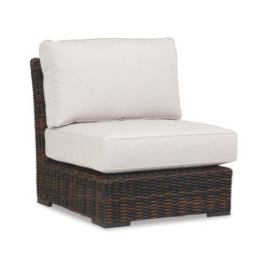 Montecito Cognac Wicker Armless Club Chair with Cushion in Canvas Flax with Self Welt