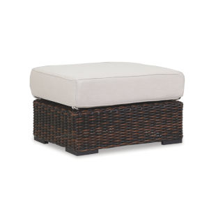 Montecito Cognac Wicker Ottoman with Cushion in Canvas Flax with Self Welt
