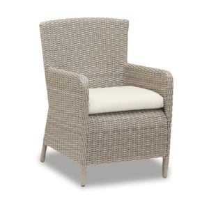 Manhattan Dove Grey Wicker Dining Chair with Cushion in Linen Canvas with Self Welt