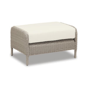 Manhattan Dove Grey Wicker Ottoman with Cushion in Linen Canvas with Self Welt
