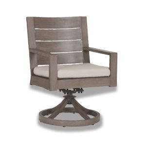 Laguna Brushed Driftwood Powdercoat Swivel Dining Chair with Cushion in Canvas Flax