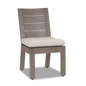 Laguna Brushed Driftwood Powdercoat Armless Dining Chair with Cushion in Canvas Flax