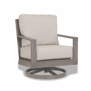 Laguna Brushed Driftwood Powdercoat Swivel Club Rocker with Cushion in Canvas Flax