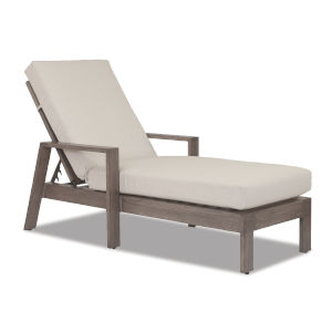 Laguna Brushed Driftwood Powdercoat Chaise Lounge with Cushion in Canvas Flax