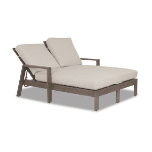 Laguna Brushed Driftwood Powdercoat Double Chaise Lounge with Cushion in Canvas Flax