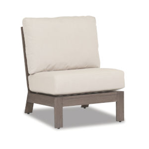 Laguna Brushed Driftwood Powdercoat Armless Club Chair with Cushion in Canvas Flax