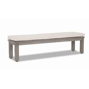 Laguna Brushed Driftwood Powdercoat Dining Bench with Canvas Flax Cushion