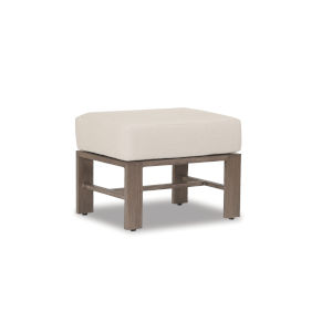 Laguna Brushed Driftwood Powdercoat Ottoman with Cushion in Canvas Flax