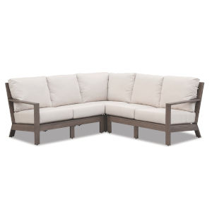 Laguna Brushed Driftwood Powdercoat Sectional Sofa with Cushion in Canvas Flax