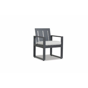 Redondo Brushed Slate Powdercoat Dining Chair with Cast Silver Cushion