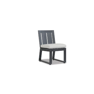 Redondo Brushed Slate Powdercoat Armless Dining Chair with Cushion