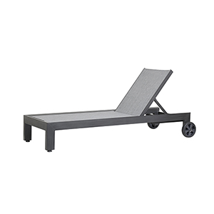 Redondo Burnished Graphite Adjustable Chaise with Textilene Cast Silver Sling