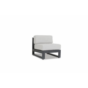 Redondo Brushed Slate Powdercoat Armless Club Chair with Cast Silver Cushion