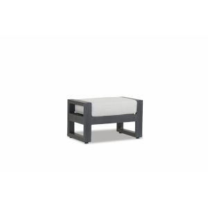 Redondo Brushed Slate Powdercoat Ottoman with Cast Silver Cushion