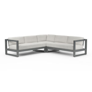Redondo Brushed Slate Powdercoat Sectional Sofa with Cast Silver Cushion