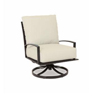 La Jolla Espresso Powdercoat Swivel with Cushion in Canvas Flax with self welt