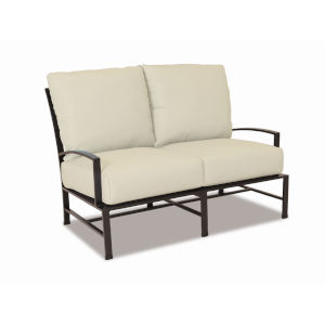 La Jolla Espresso Powdercoat Loveseat with Cushion in Canvas Flax with self welt