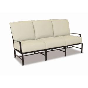 La Jolla Espresso Powdercoat Sofa with Cushion in Canvas Flax with self welt