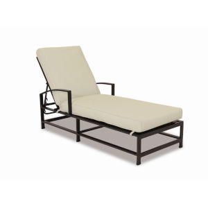 La Jolla Espresso Powdercoat Chaise with Cushion in Canvas Flax with self welt