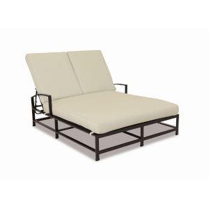 La Jolla Espresso Powdercoat Double Chaise with Cushion in Canvas Flax with self welt