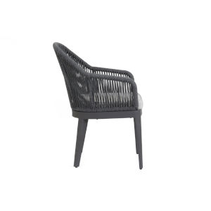 Milano Charcoal Rope Dining Chair with Echo Ash Cushion