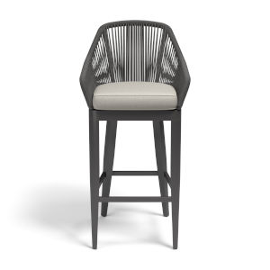 Milano Charcoal Rope Outdoor Barstool with Echo Ash Cushion