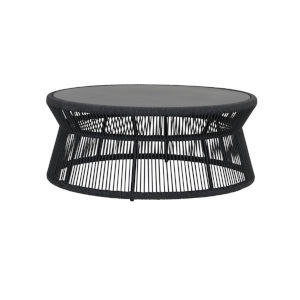 Milano Charcoal Rope Coffee Table with Honed Absolute Granite Insert