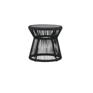 Milano Charcoal Rope End Table with Honed Absolute Granite Insert