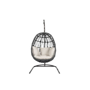 Milano Charcoal Rope Hanging Chair with Echo Ash Cushion