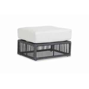 Milano Charcoal Rope Ottoman with Echo Ash Cushion