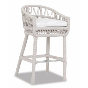 Dana Linen Rope Rope Outdoor Barstool with Linen Canvas Cushion