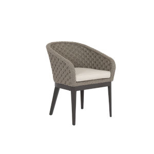 Marbella Stone Grey Rope Dining Chair with Echo Ash Cushion