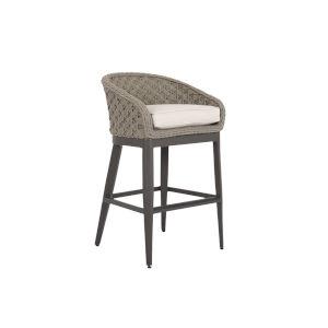 Marbella Stone Grey Rope Outdoor Barstool with Echo Ash Cushion