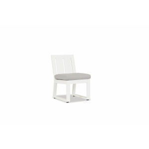 Newport Frost Powdercoat Armless Dining Chair with Cast Silver Cushion