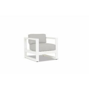 Newport Frost Powdercoat Club Chair with Cast Silver Cushion