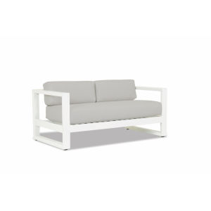 Newport Frost Powdercoat Loveseat with Cast Silver Cushion