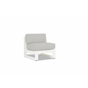 Newport Frost Powdercoat Armless Club Chair with Cast Silver Cushion
