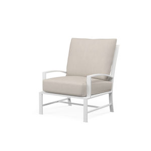 Bristol Frost Powdercoat Club Chair with Cushion in Canvas Flax with Self Welt