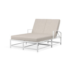 Bristol Frost Powdercoat Double Chaise wuth Cushion in Canvas Flax with Self Welt