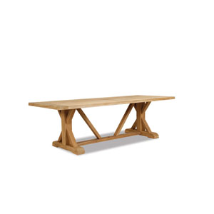 Teak Rustic Natural 94-Inch Trestle Dining Table