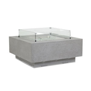 Bazaar Gray 40-Inch Square Fire Table with Glass Surround