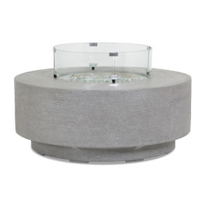 Bazaar Gray 41-Inch Fire Table with Glass Surround
