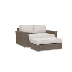 Coronado Double Chaise with cushions in Canvas Flax with self welt